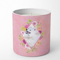 Samoyed Pink Flowers 10 oz Decorative Soy Candle CK4177CDL