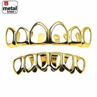 Jewelry Kay style Men's Grillz Plain Six Open Face 14K Gold Plated Teeth Top & Bottom  LS001 6F G