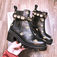 GG Trip Star & Bee Embroidered Combat Boots Shoes