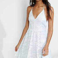White Lace T-back Skater Dress from EXPRESS