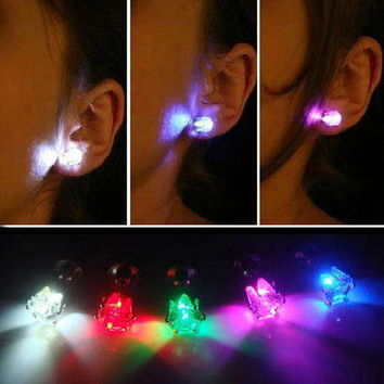 1 Pair Light Up Led Earring Studs  RED YELLOW BLUE GREEN PINK PURPLE WORLD FIRST