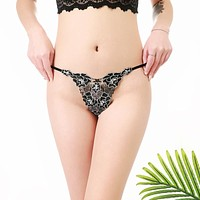 Women's new sexy embroidered rose thong