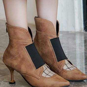 New 100 take a fashion trend pointy splice color with ankle boots woman shoes