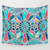 Iridescent Watercolor Brights on White Wall Tapestry by Micklyn