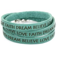 """Dillon Rogers It's a Wrap """"Love, Faith, Dream, Believe"""" Teal Leather Bracelet - designer shoes, handbags, jewelry, watches, and fashion accessories 