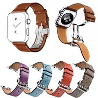 DAHASE Deployment Buckle Genuine Leather Strap for Apple Watch Single Tour Band for iWatch Series 1 2 Wristband Bracelet 42/38MM