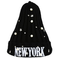 Letter Embroidered Pearl Star Embellished Knitted Beanie Hat