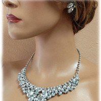 Bridal jewelry , bridal necklace, bridesmaid jewelry, vintage inspired statement, Crystal bib necklace, wedding jewelry