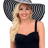 Black & White Striped Woven Sun Hat with Bow