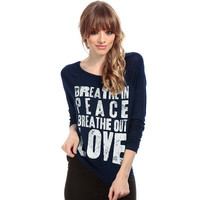Fashion Floral Printed Slim Long Sleeve Round Necked Alphabets Words T-Shirt Top _ 1661