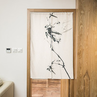 "Japanese Noren Doorway Curtain Tapestry 33.5"" Width x 47.2"" Long, Ink Bamboo"
