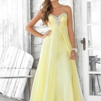 Blush Prom 9388 Yellow Strapless Evening Gown