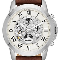 Men's Fossil 'Grant' Automatic Leather Strap Watch, 44mm - Brown/ Silver