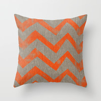 Orange chevron on linen Throw Pillow by Vin Zzep