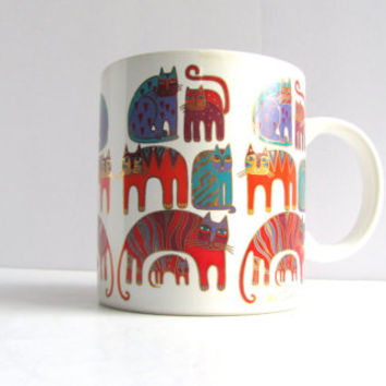 Vintage Laurel Burch Mug Rainbow Cats