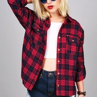 Pleasant Plaid Button Down   Trendy Tops at Pink Ice