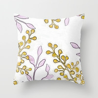 Gold Bud Flowers Print Throw Pillow by Bee Zazzler :)