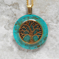 tree of life necklace: turquoise blue - tree jewelry - wiccan jewelry - celtic jewelry - unique gift - spiritual jewelry - copper jewelry