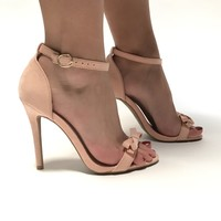 Tip Toe Bow Heels In Blush Pink