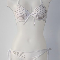 White Halter Push Up Tied Tiny Striped Bikini