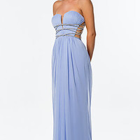 Long Open Back Strapless Gown by Terani