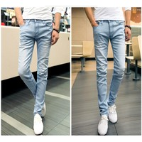 Men's 2017 Denim Stretch Bleach Washed Slim Fit Jeans