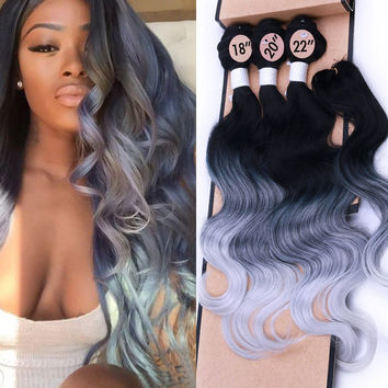 Ombre Gray Hair Weave Synthetic Hair Extensions