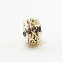 Spinner Ring - Three Tone Sprial Brass Infinite