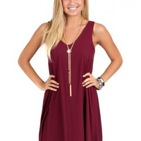 Can't Hold Us Burgundy V-Neck Shift Dress | Monday Dress Boutique
