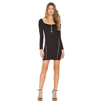 Black Noir Laddered Cut-outs with Loop Mini For Women's Night Out Dress