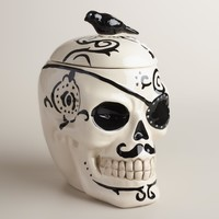 Ceramic Skull Cookie Jar
