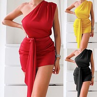 2020 new women's fashion solid color one shoulder sexy dress