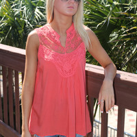 Palm Tree Paradise Collar V Neck Lace Sleeveless Rust Coral Top