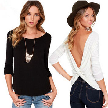 Women Sexy  Backless Tops Casual Long Sleeve O-neck Punk Cotton T Shirt