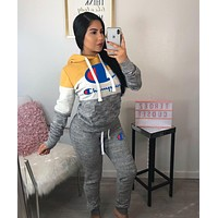 Champion Tide brand women's stitching embroidery letter head hooded sweater two-piece