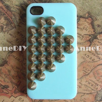 rivet metal iPhone case, iPhone 5 case with LOVE, iPhone 4s case with studs, handmade iPhone 4 cases, gift case