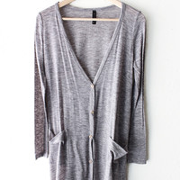 Long Knit Cardigan - Heather Grey