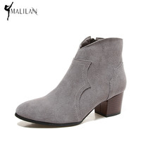 MALILAN 2017 Spring suede ankle boots for women Genuine leather high heels western cowboy boots fashion shoes woman booties