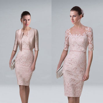 Short Elegant Mother of the Bride Groom Lace Dresses With Jacket For Wedding Party Guest Runway Knee Length Short Gowns 2017
