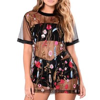 floral embroidered sheer shirt top