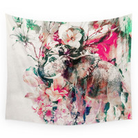Society6 Watercolor Elephant And Flowers Wall Tapestry