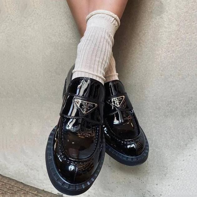 Image of PRADA new product smooth patent leather ladies platform loafers casual shoes