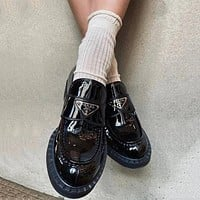 PRADA new product smooth patent leather ladies platform loafers casual shoes