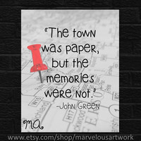 Gift Teen Room Decor Girl Teenager Room Gifts for Teenagers Art Quotes Print Wall Art Framed Print John Green, Paper Towns