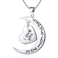 Efivs Arts 925 Sterling Silver I Love You to the Moon and Back Moon&heart Charm Pendant Necklace,18''