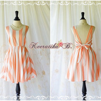 A Party Dress - V Shape Stripe Dress Cream Pale Orange Dress Backless Dress Prom Party Dress Vintage Wedding Bridesmaid Dress Custom Made