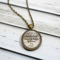 Wanderlust Necklace, Map Necklace, Gypsy Jewelry, Travel Necklace, Travel Jewelry, Gypsy Jewelry, Inspiring Jewelry, Inspirational Necklace
