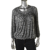 Free People Womens 3/4 Sleeves Gathered Pullover Top