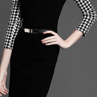 Black High Neckline 3/4 Sleeve Belted Midi Dress with Houndstooth Print Detail