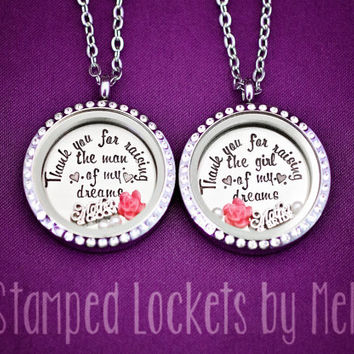 Thank You for Raising the Man, Girl of My Dreams - Hand Stamped Stainless Steel Necklace - Glass Locket - Mother of the Bride and Groom